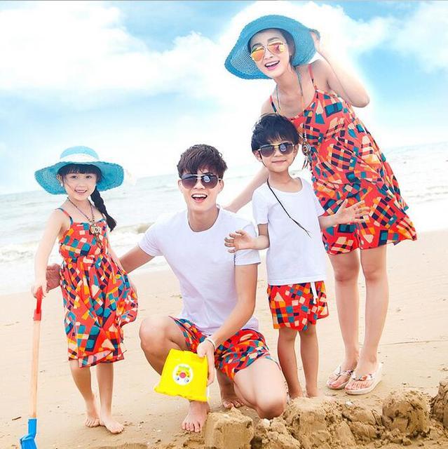 Hot Koop Bohemian Familie Kleding Plaid Vestidos Madre E Hija Moeder