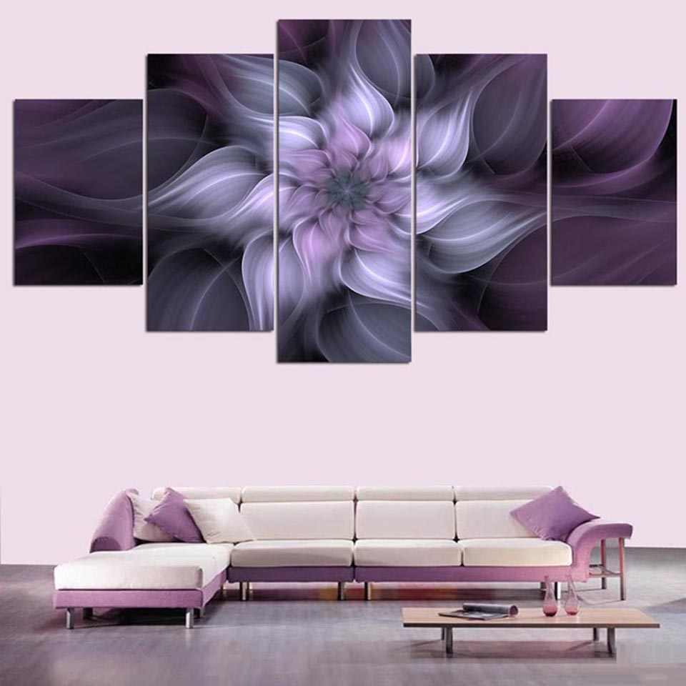 Wall Art Posters Frame Home Decoration Living Room 5 Panel Purple Flowers Modular Picture HD Printed Modern Painting On Canvas