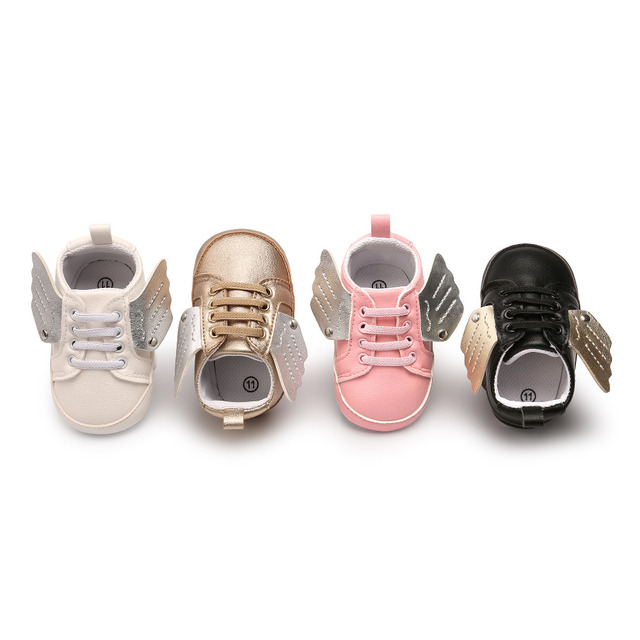 0-18M Angel Wings Baby Girls Boys Sneakers Shoes Pu Leather Crib  Anti Slip Casual Handsome First Walker For Infant Toddler