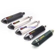 PHULEOVEO Length 570mm ID 51mm Motorcycle Akrapovic Exhaust Pipe Muffler Universal Carbon Fiber Motorbike Exhaust Muffler