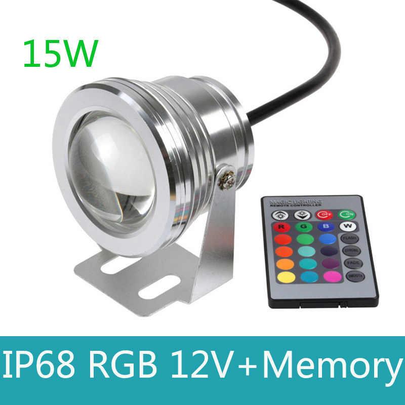 15 Вт 12 В Led RGB подводный источник света Водонепроницаемый IP68 фонтан бассейн лампы 16 Красочные Изменение с ИК пульт piscina открытый свет