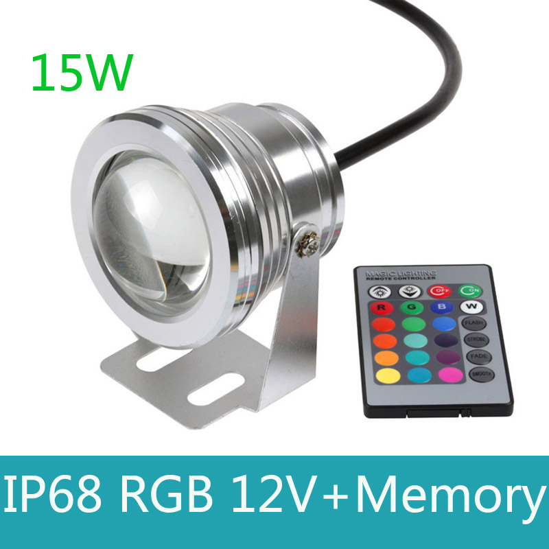 15 W 12 V Led RGB Luz Do Ponto Subaquática À Prova D' Água IP68 Fonte piscina Ao Ar Livre piscina Lamp 16 Mudar Colorida Com Controle Remoto IR luz