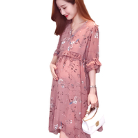 Ruffles Print Chiffon Dresses Maternity Clothings Lace Pink Plus Size M- XXL Pregnant Women Loose Sashes Pregnancy Clothes 2018