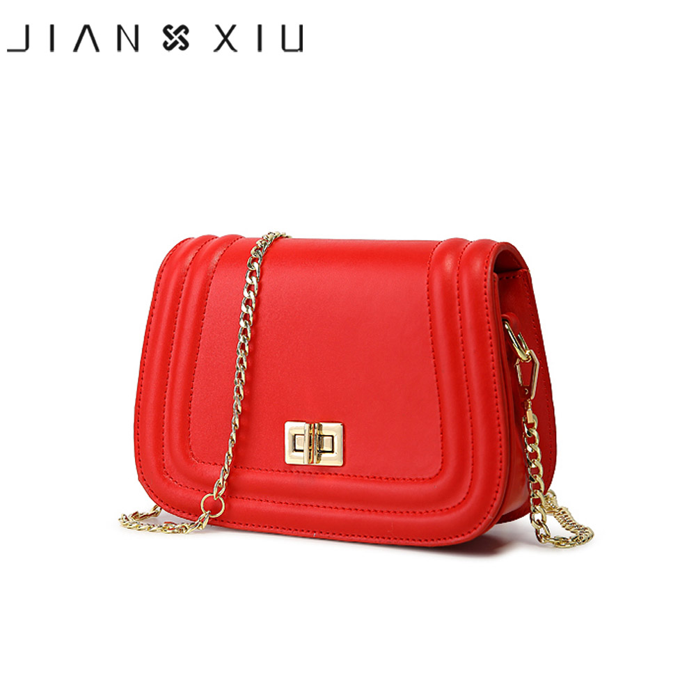 JIANXIU Brand Fashion Women Messenger Bags Split leather Shoulder Chain Ladies Saddle Bag High Quality Small
