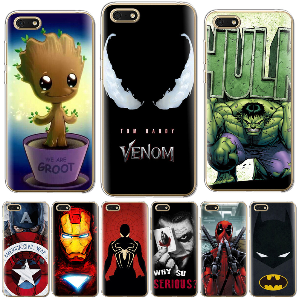 Venom Deadpool Fundas For <font><b>Huawei</b></font> <font><b>Honor</b></font> <font><b>7A</b></font> 7 A Russian Version Chic Coque Cases For <font><b>Huawei</b></font> Honor7A 5.45