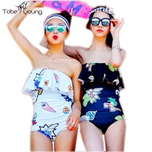 2016 Women's Sexy Off Shoulder Push Up Bandeau Flounce Ruffles Brazilian One Piece Monokini Beach Swimwear Bathing Suit Swimsuit