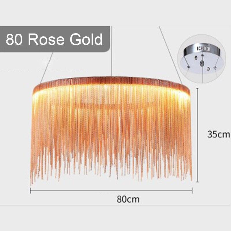 IKVVT роскошные подвесные светильники золотистого и серебряного цвета, круглые лампы с кисточками, Алюминиевый металлический корпус для гостиной, отеля, современные домашние лампы - Цвет корпуса: Dia80cm Rose Gold