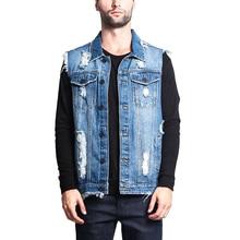 2019 Men Hole Denim Vest  Men Solid Cowboy Vest Male Fashion Sleeveless Outer Coat New Style Male Outer Garment Clothing D40 цена