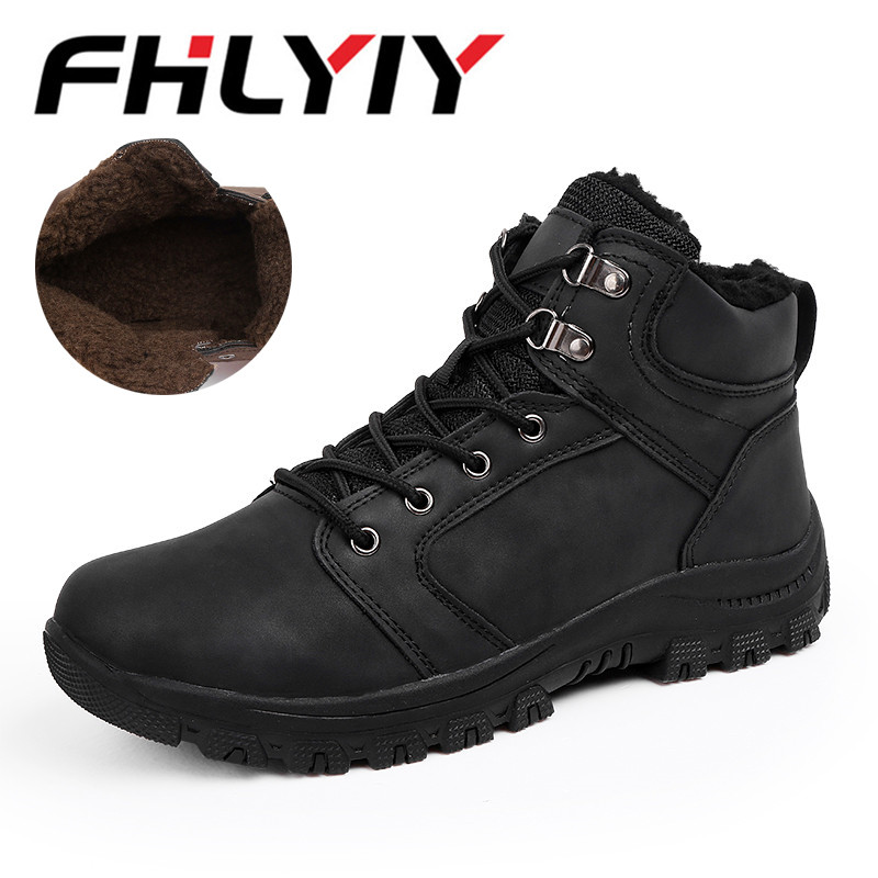 Plus Size 39-46 Fashion Men Fur Shoes Comfortable Leather Outdoor Casual Shoes Lace-Up Winter Rubber Sneakers Chaussure Homme the tunnel