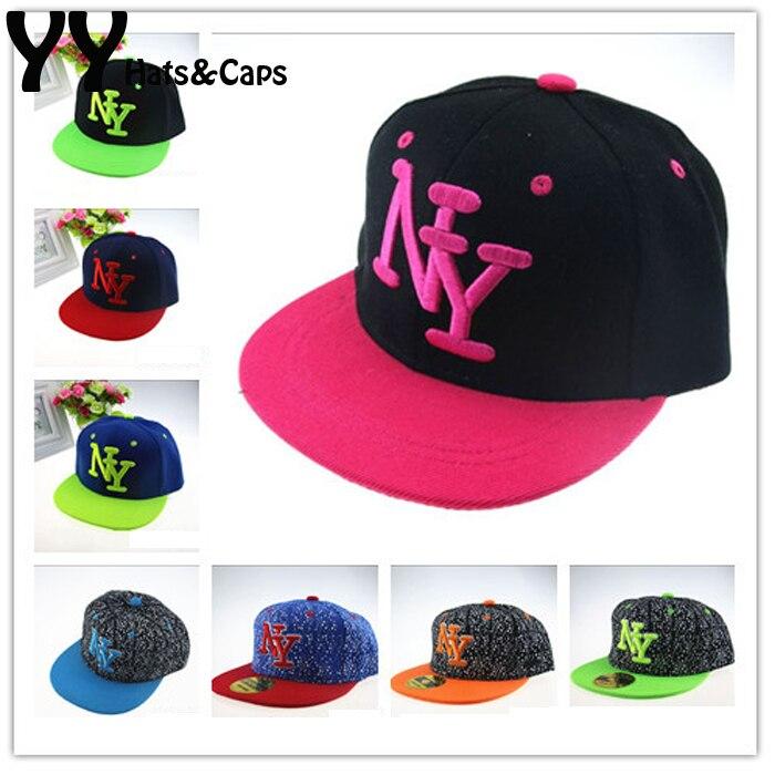 Prix pour 2015 NY Enfants Snapback de Bande Dessinée Broderie Enfants Coton Casquette de baseball Bébé Garçons Fille Snapback Casquettes Hip Hop Chapeaux D'été YY0772