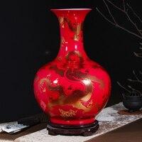 Jingdezhen ceramic floor large vase decoration flower arrangement Chinese style living room TV cabinet porch decoration