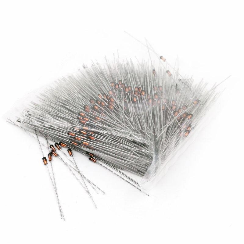 1000pcs wholesale 0.5W 1/2W zener diodes diode voltage regulator DO-35 2v2 2v4 2v7 3v3 3v6 4v3 4v7 5v6 5v1 10v 12v 13v 15v 18v