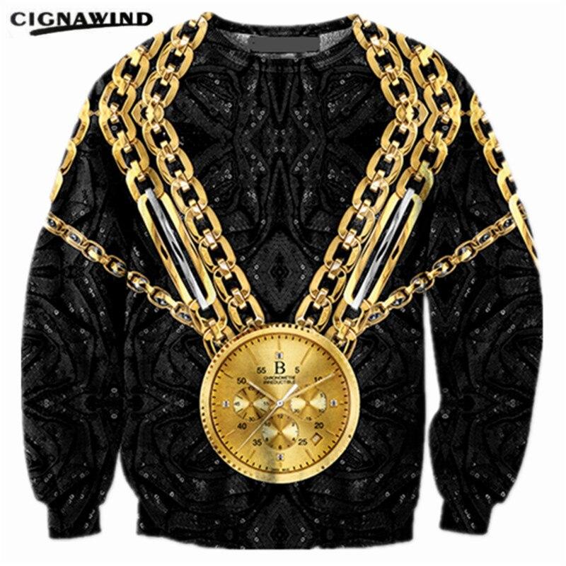 de0160f16822 New Fashion Golden Pocket Watch 3D Print Sweatshirts Women Men hoodies  casual Hip hop Pullovers
