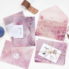 3 шт./упак. Романтический Сакура прозрачный конверт открытка с буквенным принтом хранилище канцелярских товаров Бумага подарок