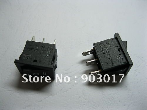 Rocker Switch ON/OFF/ON 3pin 6A 10A Black KCD1 10 pcs per lot hot sale