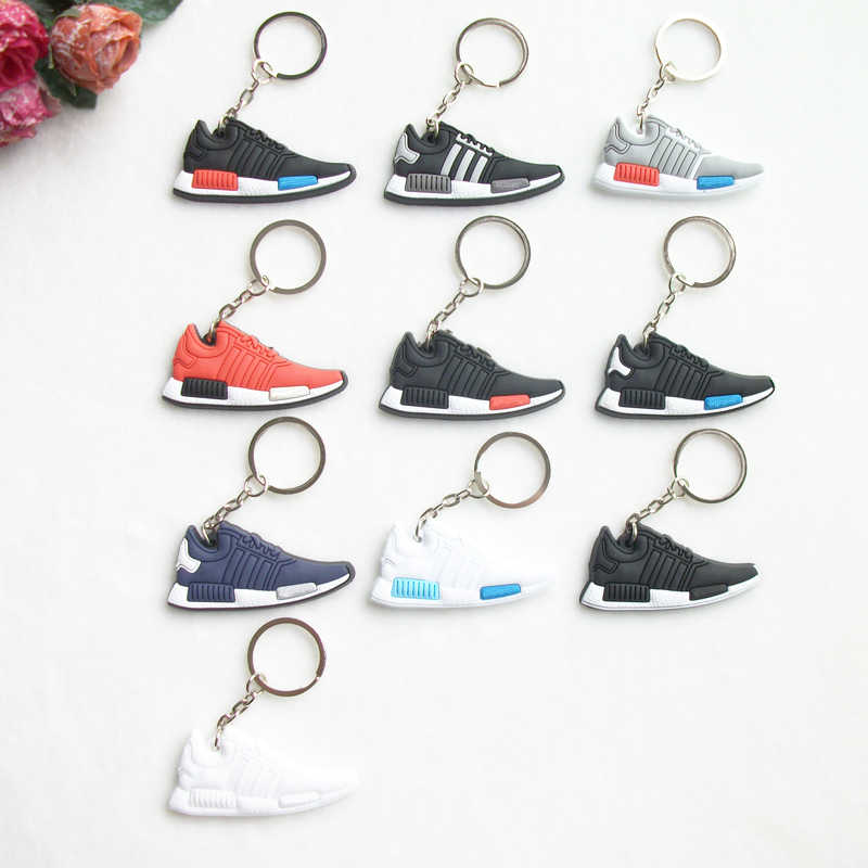 Mini Silicone NMD Homens Mulher Kids Presentes Chave Anel Keychain Charme Saco Acessórios Pingente de Chave Titular Chave Sapatos Jordan Sneaker cadeia
