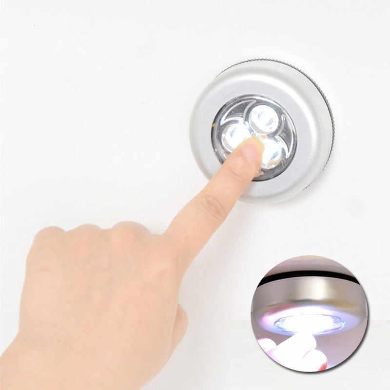 3 LED venta al por mayor luz nocturna de pared armario de cocina lámpara adhesiva lámpara táctil grifo pequeño armario de cocina luz para armario