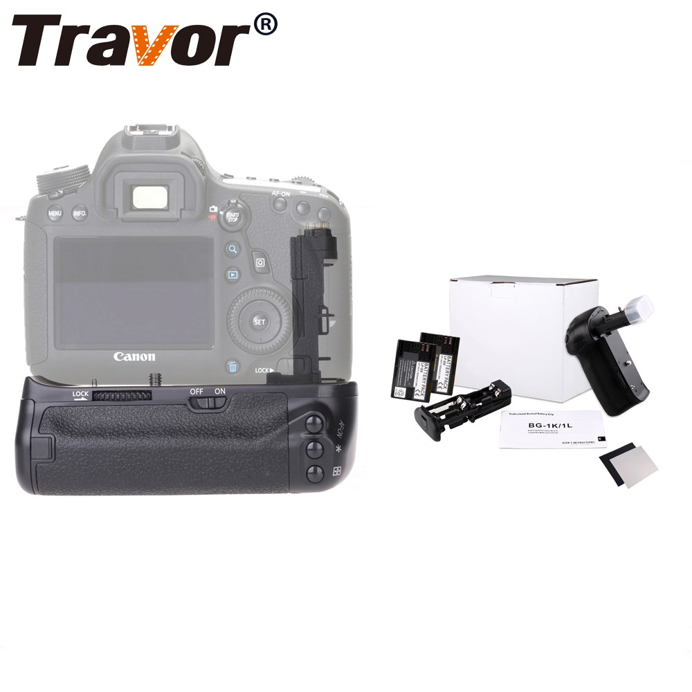 Travor Camera Vertical Battery Grip Holder For Canon EOS 70D 80D DSLR Battery Handle Replace BG-E13 Gift 2 PCS LP-E6 Battery travor camera battery grip holder for canon eos 6d dslr replace bg e13 battery handle work with lp e6 battery