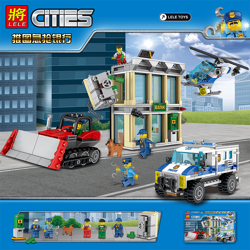 591pcs Kids Building Block Assemblage Compatible legoINGLY City Bank Series Technic Building Brick Toys for Childrens Gift