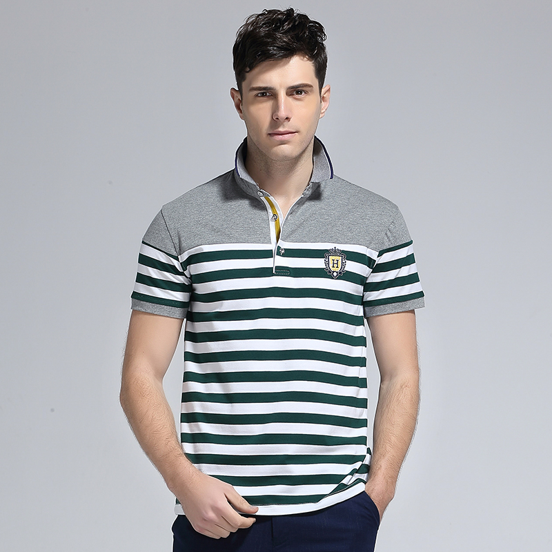 New 2018 Summer Fashion Turn-down Collar Cotton Striped Casual t shirt Men Slim Fit t-shirt Homme Mens Clothing Polo Shirt