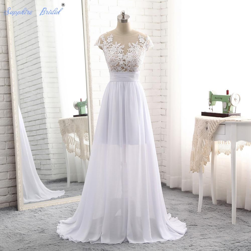 Aliexpress Com Buy Simple Elegant See Through Lace Part: Sapphire Bridal Vestido De Noiva Simple Chiffon Long Beach