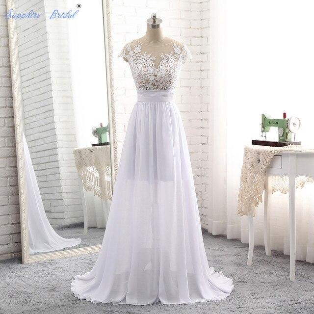 Sapphire Bridal Vestido De Noiva Simple Chiffon Long Beach Wedding Dress  Top See Through Boho Bridal Gowns Hot Sale 39e5773a35a3