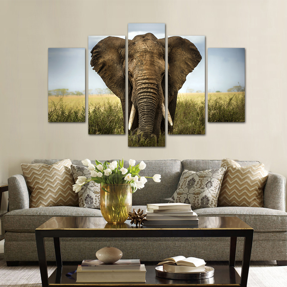 Unframed HD Print 5 Canvas Art Painting Elephant Living Room Decoration Spray Painting Mural Unframed Free Shipping