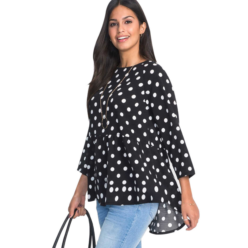 a7de1390194 Fashion Women Chiffon Blouse Shirts Polka Dot Printed 2018 Summer Tops Nine  Quarter Loose O Neck