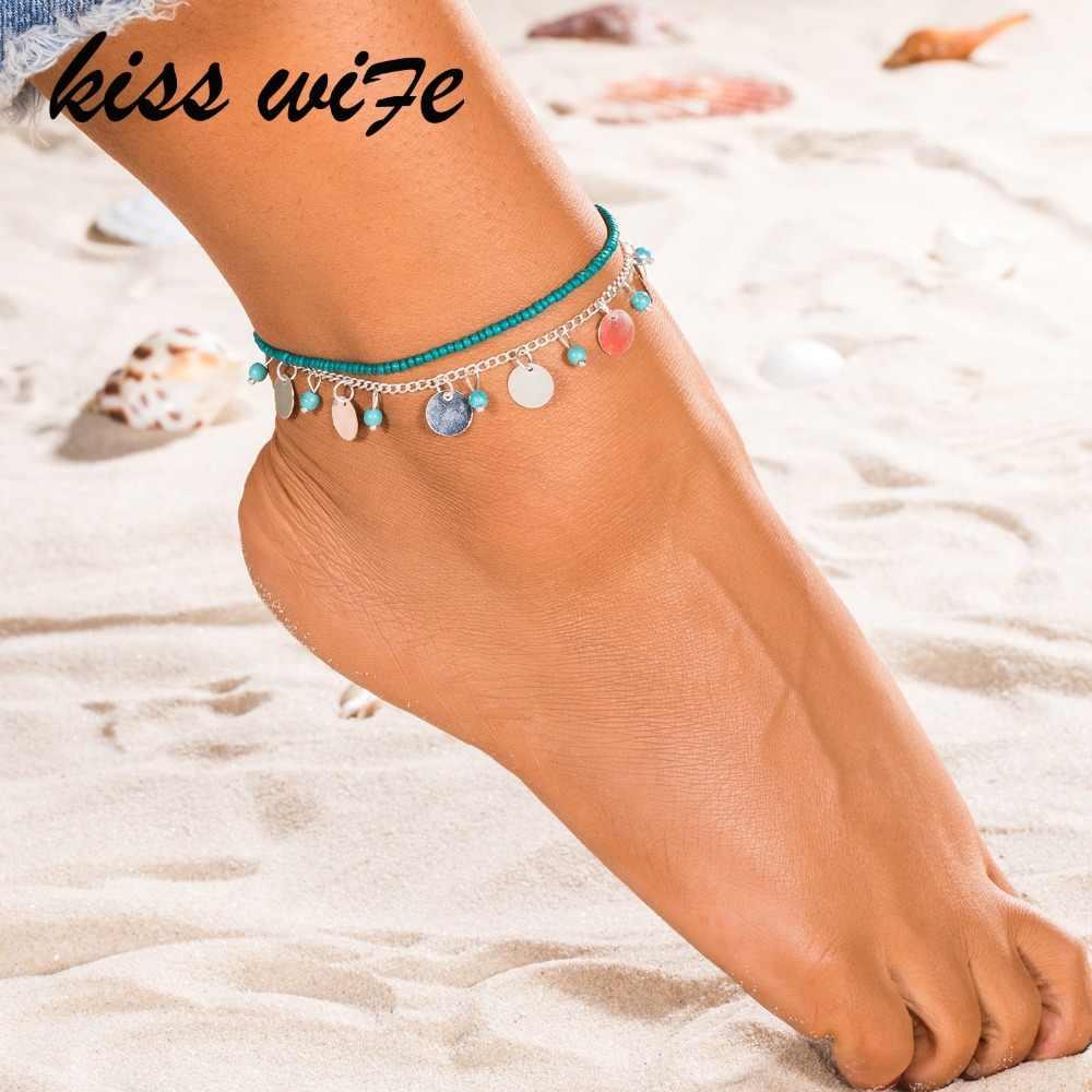 KISSWIFE 1 PC สร้อยข้อเท้าเท้าข้อเท้าหิมะสร้อยข้อมือ Charm Leaf สร้อยข้อเท้าชายหาด Vintage เครื่องประดับ