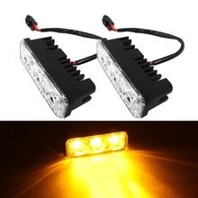 цена на Car LED DRL Fog Lamps Waterproof Car High Power Aluminum LED Daytime Running Lights with Lens DC 12V White 6000K Yellow 3000K