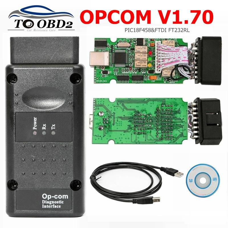OPCOM V1.70 OBD2 Diagnose Scanner Voor Opel Auto OP COM 1.70 OBD Interface PIC18F458 + FTDI FT232RL Diagnostic Tool