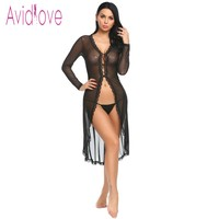 Avidlove Long Sleeve Floral Lace Robe Women Lingerie Sexy Hot Erotic Sex Costumes Kimono Bathrobe Dressing Gown Sleepwear