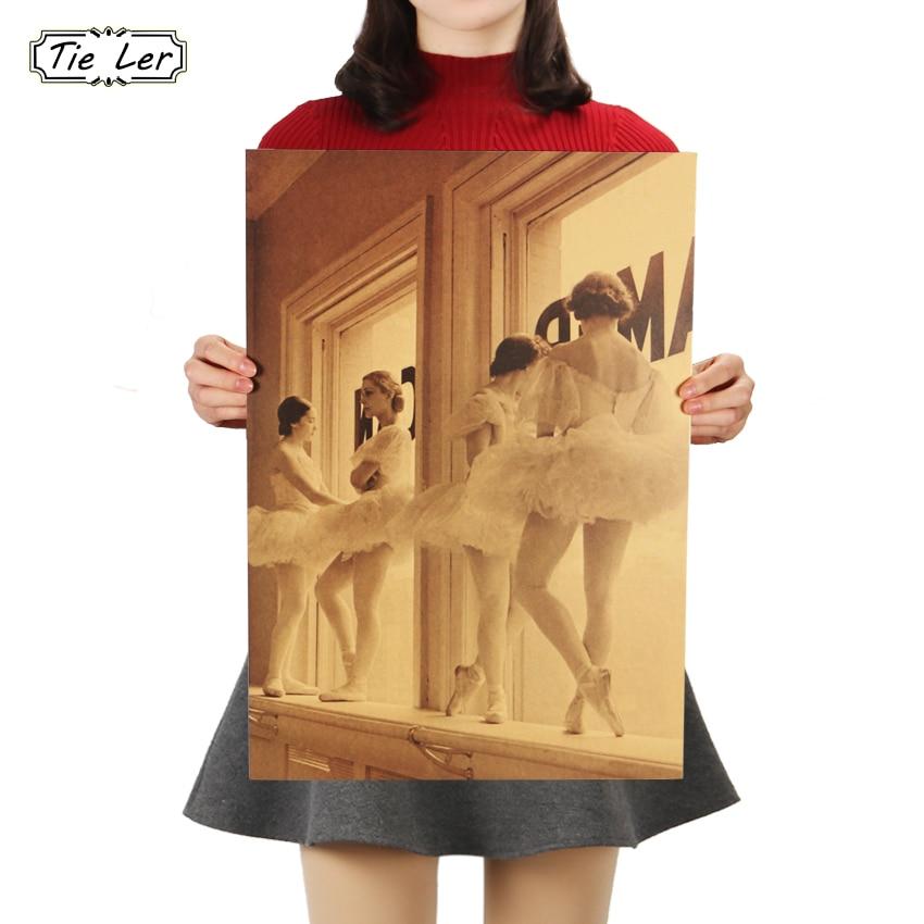 TIE LER Home Decor Wall Sticker Retro Kraft Paper Ballet Dancers Decorative Paintings Bar Cafe Kids Room Poster 51.5x36cm