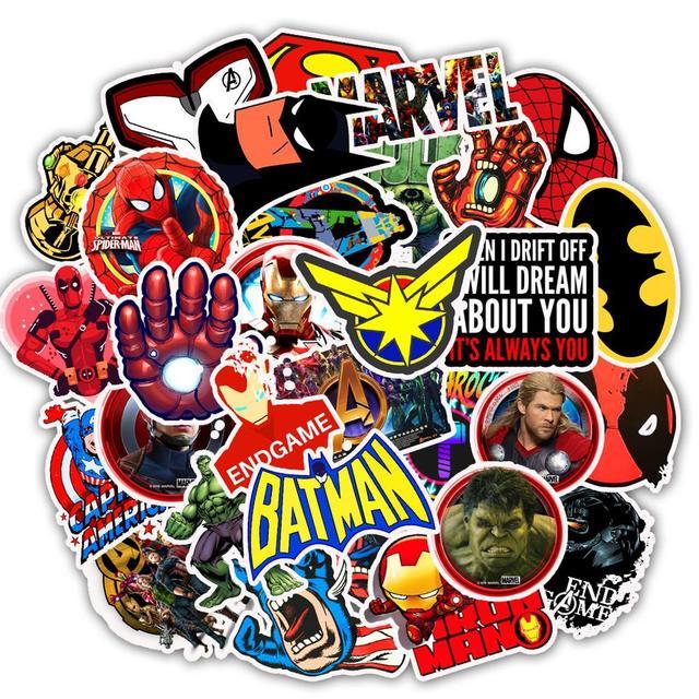 50 pcs Etiqueta Dos Desenhos Animados da Marvel Super-heróis Adesivos Para Home Decor DIY Decal Laptop Bagagem Skate Brinquedo Adesivo de Parede