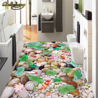 Beibehang Custom Pebble Goldfish Lotus Wallpaper Papel De Parede 3D Bathroom Wall Mural Self Adhesive Waterproof