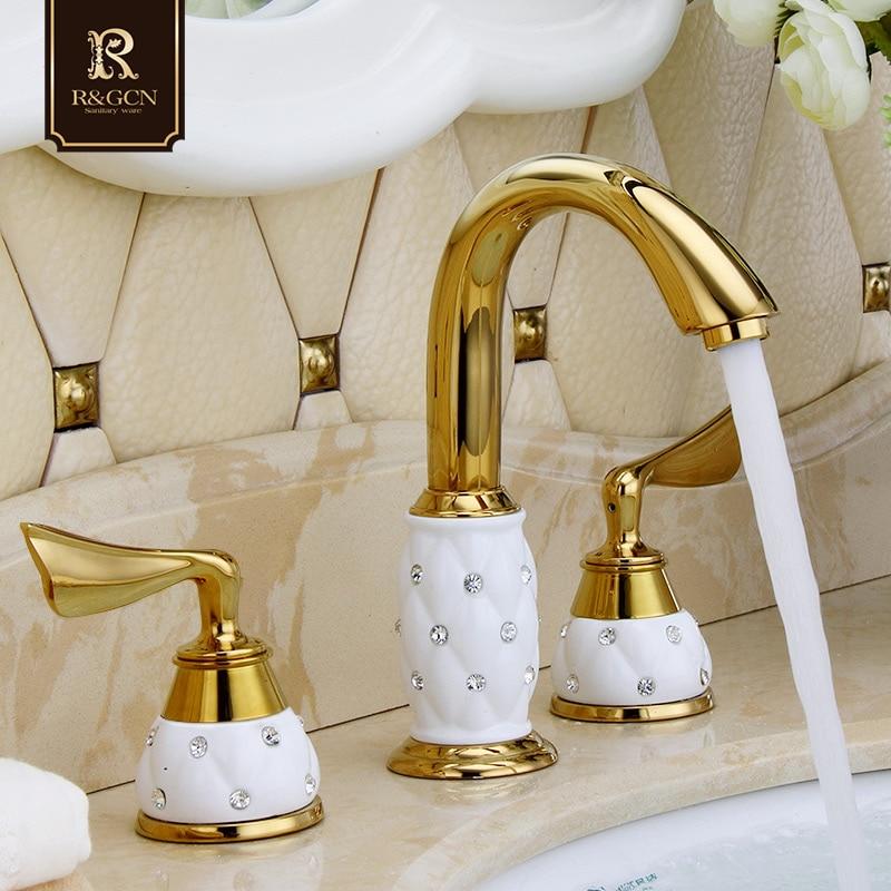 Robinets de cuisine en forme de goutte robinet de lavabo en diamant robinets d'évier en or Rose poli Double poignées robinet de lavabo à froid chaud monté sur le pont