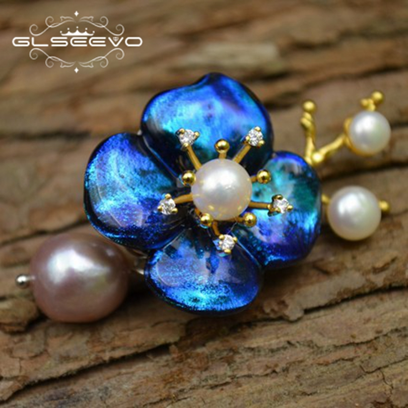 GLSEEVO Natural Fresh Water Pearl Brooch Pins Glaze Flower Brooches For Women Party Dual Use Designer Luxury Fine Jewelry GO0267