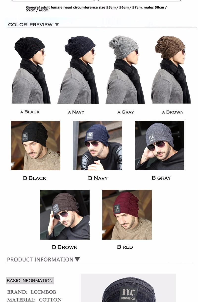 FETSBUY Brand Beanies Knit Men'S Winter Hat Caps Thick Skullies Bonnet Hats For Men Women Beanie Female Warm Baggy Knitted Hat 14