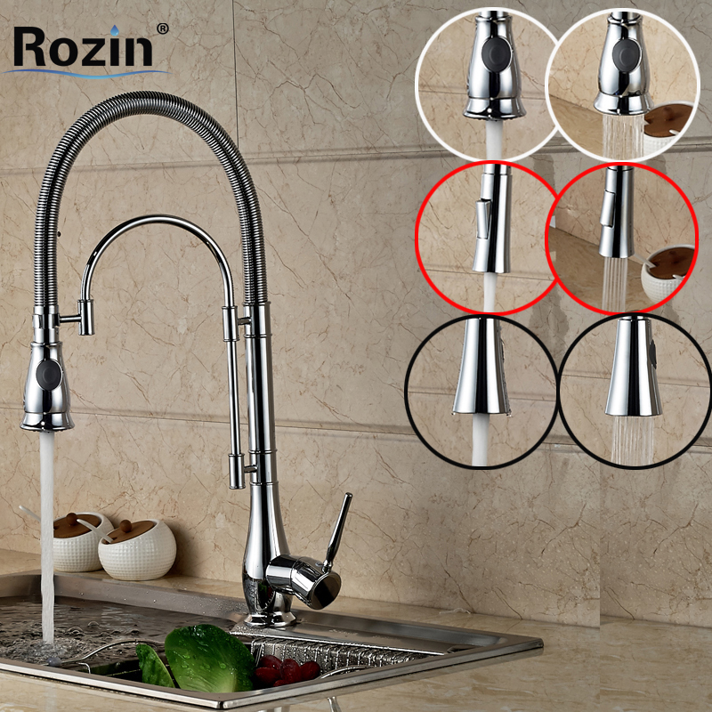 Rozin Polished Chrome Bathroom Kitchen Sink Faucet Single Lever Hot / Cold Kitchen Water Taps Rotate Spout with Bracket niko 50pcs chrome single coil pickup screws