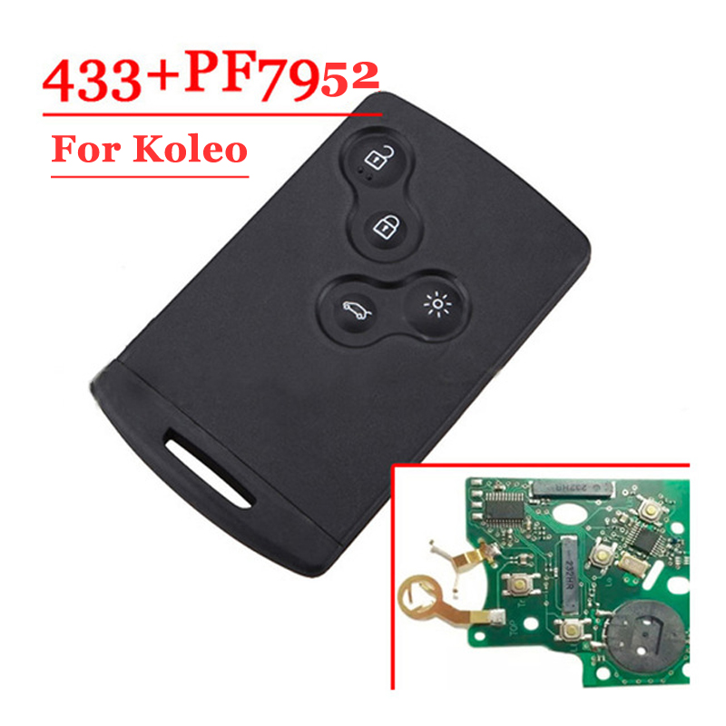 Free Shipping (1pcs/Lot) Excellent Quality 4 Button Smart Card For Renault Koleos CLIO with pcf7952 Chip 433MHZ new keyless go remote key fob 4 button 433mhz with chip pcf7952 for renault koleos with uncut blank blade