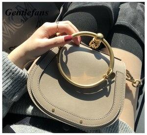 6a87357549 gentlefans Luxury Leather Shoulder Bag Round Tote bag