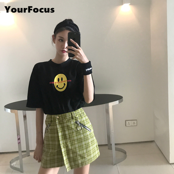 2018 New Vintage Old School Style Women Plaid Skirt Zipper Circle