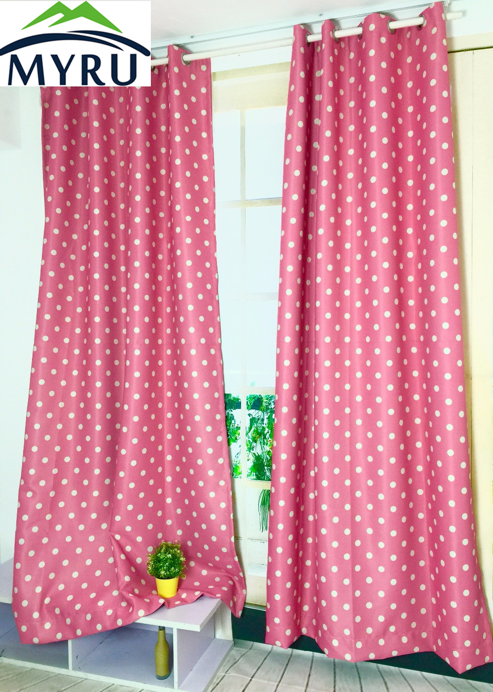 MYRU New Arrival Blue Color With White Dots Shade Cloth Curtains Pink Polka  Dot Curtains For Children Bedroom Living Room