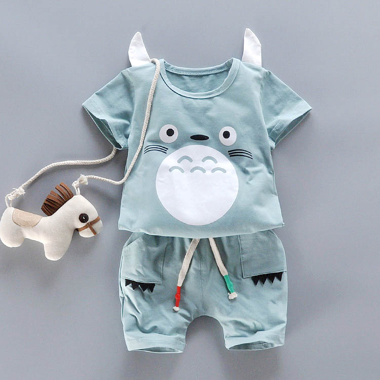 Summer Children Clothing Set Cute Cartoon T-Shirt+ Pants 2pcs Cotton Sports suit kids Casual Outfits baby Boy Clothes Set summer princess baby girls kids suits cotton cat print t shirt plaid short pants outfits children set suit clothing