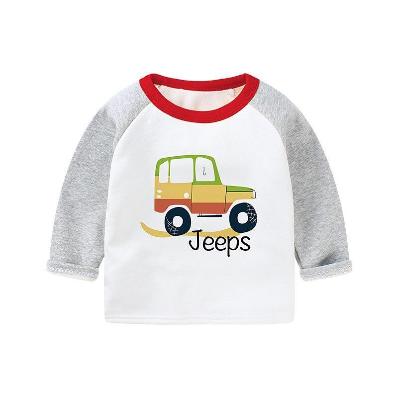 0-3y Zuigelingen Kleding T-shirts Plus Velet Verdikking Cartoon Truck Jongens Winter Kleding Casual O-hals Ondergoed Warm Kids Kleding Bekwame Productie