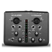 Butikowy oryginalny m audio m track interfejs audio usb karta dźwiękowa zewnętrzna 2 w 2 wyjścia profesjonalna do nagrywania bezpłatnej wysyłki
