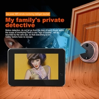 Wifi Intercom Door Viewer 4.3 HD Automatic Video Photo Digital Peephole Camera IR Night Vision Motion Detect Security Doorbell