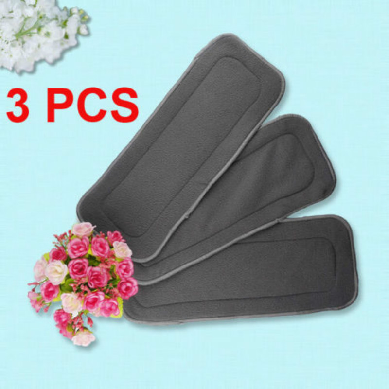 3pcs/set Reusable 4 Layers Soft Bamboo Fiber Charcoal Cloth Diaper Nappy Inserts Baby Diapering Nappy Liners