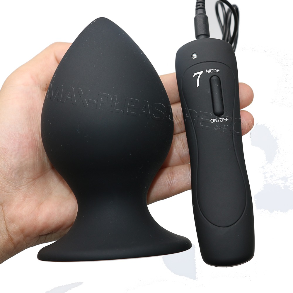 7 Mode Full Silicone Black Anal Vibrator Male Sex Toy Big -2826
