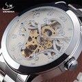 SHENHUA 2016 Новая Мода Из Нержавеющей Стали Мужчины Скелет Часы Джентри Благородный Дизайн Классический Наручные Платье Механические Часы